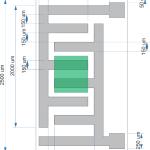 Diagrama de construcție a senzorului de umiditate. Cu verde a fost marcată portiunea intre care se depune stratul sensibil
