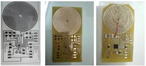 Masca cu circuitul electronic printata pe folie (stanga), Circuitul electronic dupa developare (centru), Circuitul electronic cu componentele aferente (dreapta)